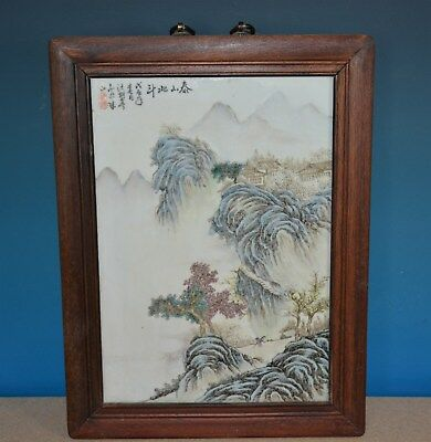 Superb Chinese Famille Rose Porcelain Plaque Marked Wang Yeting H3939