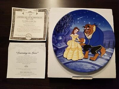 """Disney Plate - """"Learning to Love"""" - Mint in Box - Iconic - Cert. of Auth. - Ltd"""