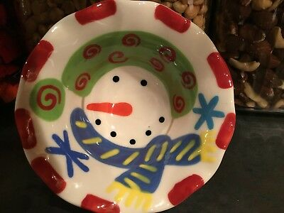 Coton Colors Pottery. Holiday snowman. 5' in width. Ruffled edge.