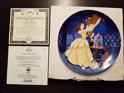 """Disney Plate - """"Beauty and the Beast"""" - Mint/Box - Bradford Exch - Cert. Auth."""