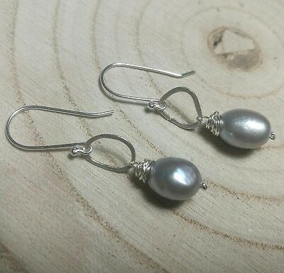 Hammered Sterling Silver and Freshwater Pearl Earrings Handmade Contemporary