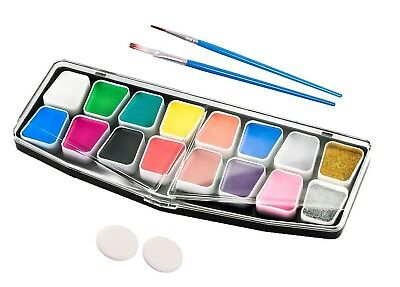 Face Paint Kit Professional Painting Makeup | 14 Colors + 2 Glitters + 2 Sponges