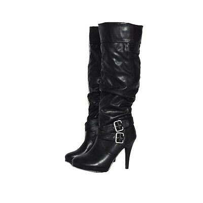 Style & Co Excess Womens Black Fashion Double Buckle Knee-High Boots (6 US) $109