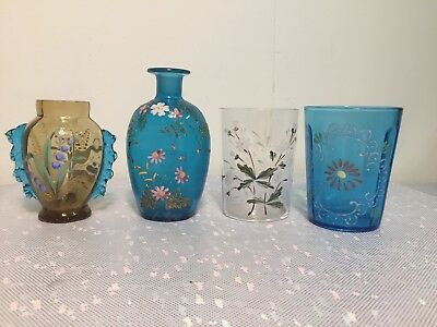 Group of Four Antique Victorian Enameled Bohemian Art Glass Cups Vases Bottle
