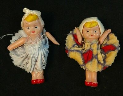 """Celluloid 3"""" Kewpie type all original 1930s lot of 2 marked Japan"""
