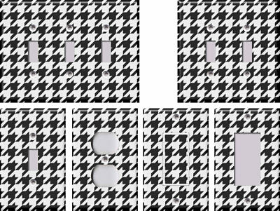 Black and White Houndstooth - Light Switch Covers Home Decor Outlet