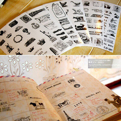 6pcs Cute Diary Decoration Scrapbooking Transparent Stationery Planner StickervE