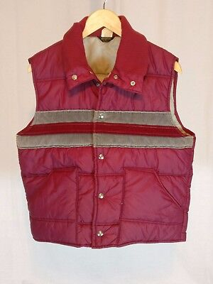 Vintage 1970's Men's Shipton Puffer Vest Burgundy/ Red and Gray Large L