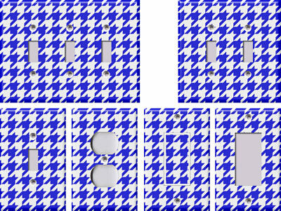 Blue and White Houndstooth - Light Switch Covers Home Decor Outlet