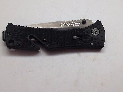 Sog Trident Tanto Camo Folding Knife Plain Blade Black