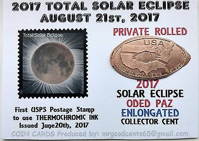 2017 SOLAR ECLIPSE Elongated Cent on RARE  ACEO Keepsake Coin & Stamp  #17-0001
