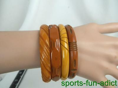 "Vintage Lot of 4 Carved Bakelite Pumpkin Butterscotch Bangle 8"" Bracelets"
