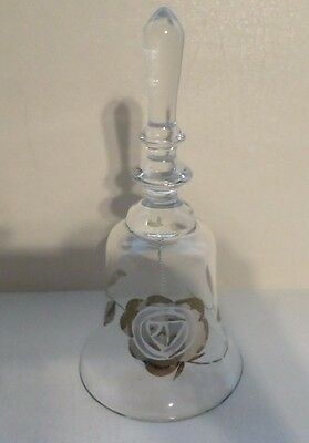 "Glass Hand Bell Gold Rose Pattern 7"" Tall"
