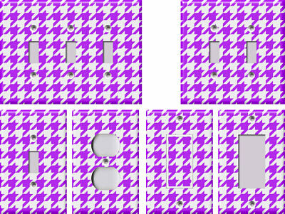 Purple and White Houndstooth - Light Switch Covers Home Decor Outlet