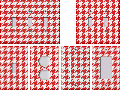 Red and White Houndstooth - Light Switch Covers Home Decor Outlet