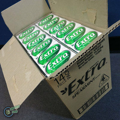 1 ctn 24 x 14 EXTRA Chewing Gum Green Spearmint SugarFree Wrigley's Wrigley Bulk