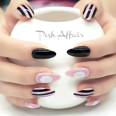 STILETTO *COLLISION* Black Pink Full Cover Press On 24 Nail Tips FAST SHIP!