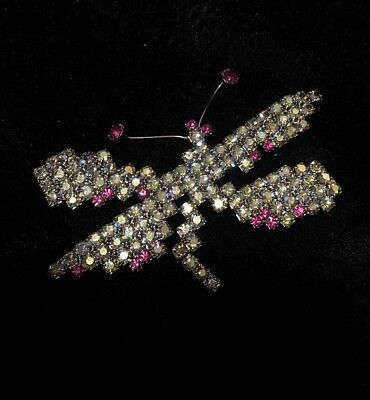 VIntage Signed Bauer Dragonfly Brooch AB and pink stones