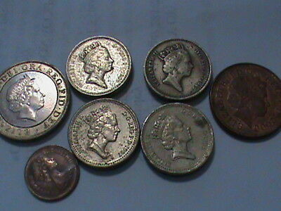 LOT of 7 COINS- 4 GBP Great British Pounds, 1/2 Penny New Penny, Two Pound Coin