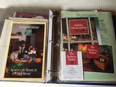 Longaberger Wish Lists, Flyers, Fabric samples, 1992-97, + CC extras (in Binder)