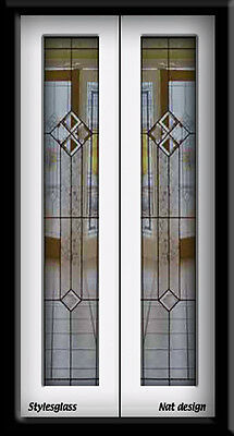 """Leaded glass double Doors for that 36"""" - 38"""" wide wall or hallway interior"""