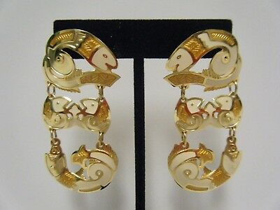 Vintage Berebi Pierced Dangle Earrings Gold Tone & Cream Enamel Fish Design