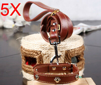 Practical Rope L 120*W 2 CM Brown PU Leather Leash Suite Wholesale MOQ 5 PCS