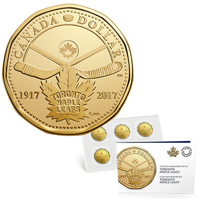 100th Anniversary 1917-2017 Toronto Maple Leafs One Dollar $1 Coin Loonie 5-Pack