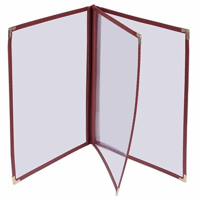 "30pcs 8.5""x14"" Clear Restaurant Burgundy Menu Cover Folder Triple"