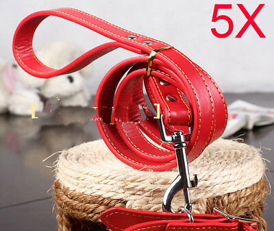 Practical Rope L 120*W 2 CM Red PU Leather Leash Suite Wholesale Lots 5 PCS
