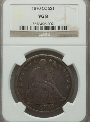 1870-CC Seated Liberty Silver Dollar NGC VG 8 $1 coin
