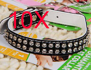 Practical S 1.6*35 CM Black PU Leather Dog/Cat Collar Wholesale Lots 10 PCS