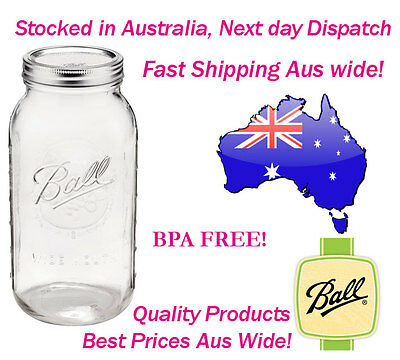 6 x Huge 2 Litre Ball Mason Half Gallon Jars Lids Preserving Canning Storage
