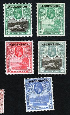 Ascension Island Scott Numbers 1 thru 5 Mint Hinged Stamps