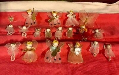 19 Vintage Nylon Angels Christmas Tree Ornaments Collectibles figures butterfly