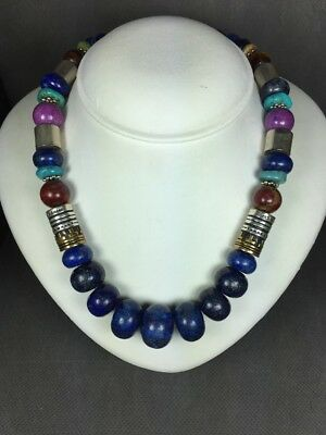 TOMMY SINGER (T&R Singer) Multi Stone Beaded Lapis Necklace With Overlay Drums