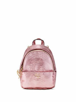 NWT Victoria's Secret Luxe Pink Python Mini City Backpack
