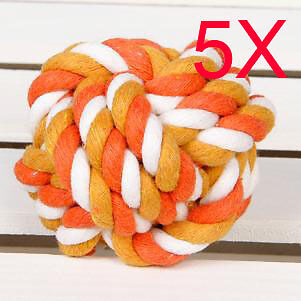 Hand-Woven Cotton Diameter 5CM Pet Toy Dog Plaited Balls Wholesale Lots 5 PCS