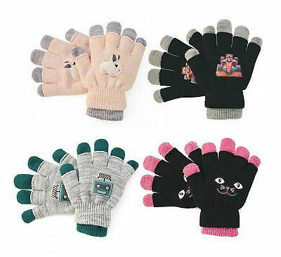 Kids Girls And Boys 2 In 1 Warm Magic Gloves Assorted Designs Colors Gl181