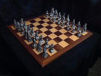 pewter crystal and silver plated crystal chess set by tudor mint .and board