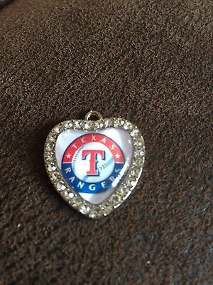 TEXAS RANGERS Heart Shaped Pendant For Necklace Crystals MLB Baseball