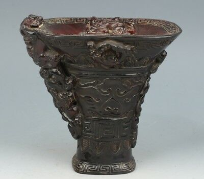 China Exquisite Hand-carved brave troops carving OX horn cup