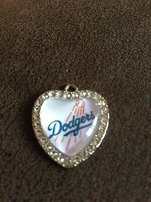LA LOS ANGELES DODGERS Heart Shaped Pendant For Necklace Crystals MLB Baseball