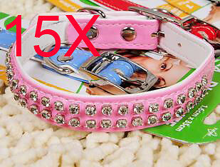 Practical S 1.6*35 CM Pink PU Leather Dog/Cat Collar Wholesale Lots 15 PCS