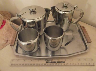 Stainless Steel Tea Set 6 Pieces Tea/coffee/hot Water/sugar/milk And Tray Good