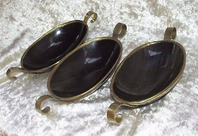 Black Horn 3x. BOWLS DISHES Asian Oriental Brass Metal Trim Ea. 21CmsL