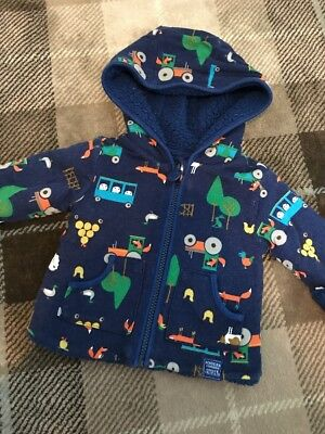 Baby Boys Joules Farm Tractor Themed Reversible Fleece Jumper 0-3 Months