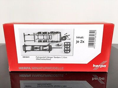 H0 HERPA 081641 Chassis for tandem trailer swap body 2-axle (7,15m) 1/87 Scale