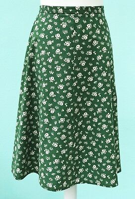 VINTAGE 1950s 1960s FLARED SKIRT Green with cream mini-floral pattern UK 12