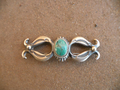 Old Navajo sandcast Sterling pin, brooch, Turquoise, unique & unusual, heavy